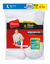 Hanes Men's Big & Tall Cushion Crew Socks