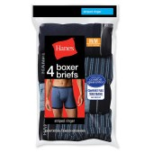 Hanes Men's Ringer Boxer Brief with Comfort Flex Waistband 4-Pack