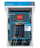Hanes Classic Mens Yarn Dyed Exposed Waistband Boxer P5