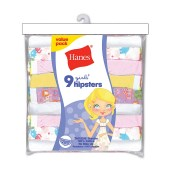 Hanes Girls' No Ride Up Cotton TAGLESS Hipsters