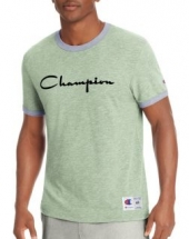 Champion Men's Heritage Ringer Tee Flocked Script Logo