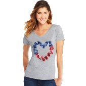 Hanes Women's Stars & Stripes Floral Heart Short Sleeve V-Neck Tee