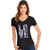 Hanes Women's Big Love Short Sleeve V-Neck Tee