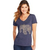 Hanes Women's Pattern Elephant Short Sleeve V-Neck Tee