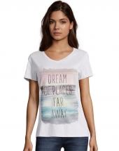 Hanes Women's Dream of Places Far Away Short Sleeve V-Neck Tee