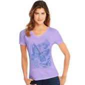Hanes Women's Big Butterfly Impression Short Sleeve V-Neck Tee