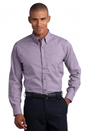 Mini-Check Non-Iron Button-Down Shirt